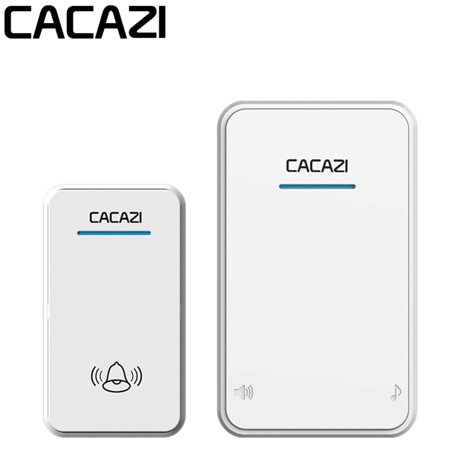 CACAZI Smart Home Long Range Wireless Doorbell DC Battery Operated 300M Remote Door Bell 48 Rings 6 Volume Open Area 300M cacazi white black long range wireless doorbell dc battery operated 300 m remote control doorbell rings 6 volume door chime 48