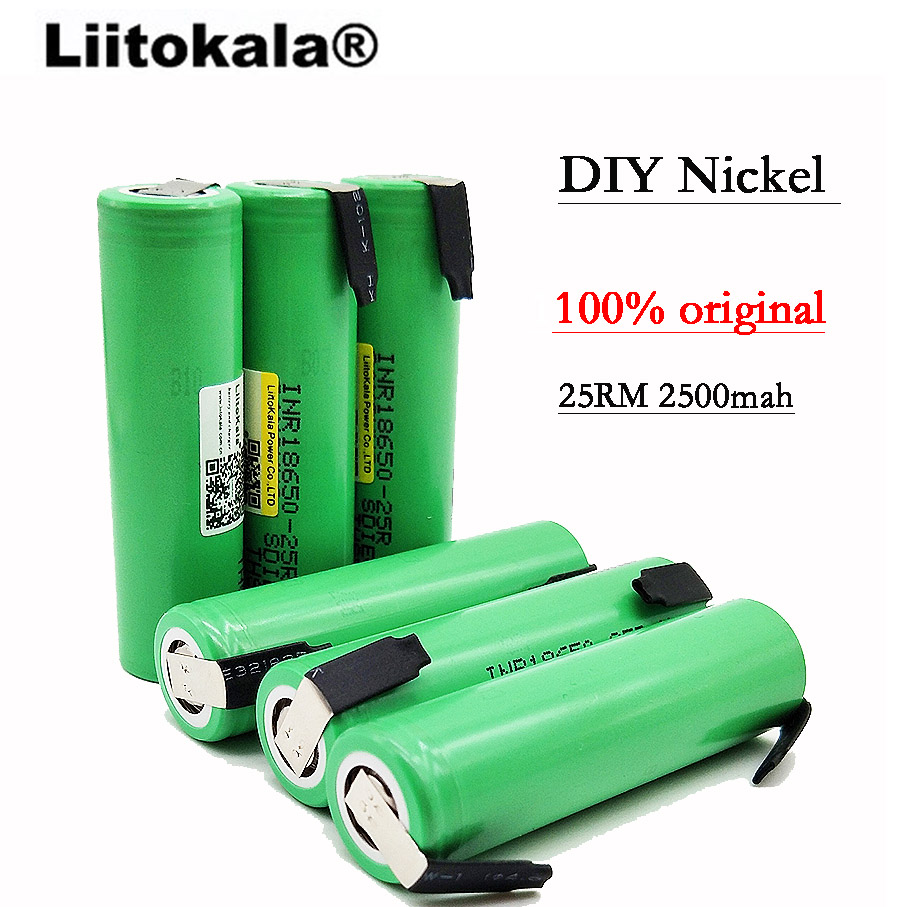 2019 NEW <font><b>LiitoKala</b></font> original <font><b>18650</b></font> 2500 mAh battery INR1865025R 3.6 V descarga 20A dedicated battery + DIY battery image