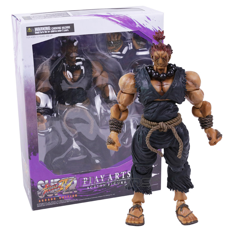 PLAY ARTS KAI Street Fighter IV 4 Gouki Akuma PVC Action Figure Collectible Model Toy super street fighter iv akuma gouki white variant play arts kai action figure