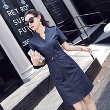 2018 women plus-size clothing short sleeve V-Neck washed solid denim dress Female casual fashion slim A-Line jean dresses 598