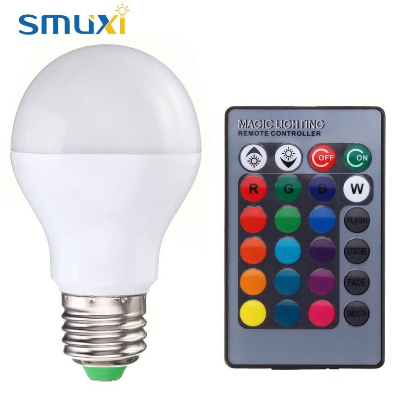 SMUXI RGB Della Luce di Lampadina E27 B22 5 W 10 W Colore cambiare LED Della Fase Della Lampada Faretto Lampadario Illuminazione con Telecomando 85-265 V