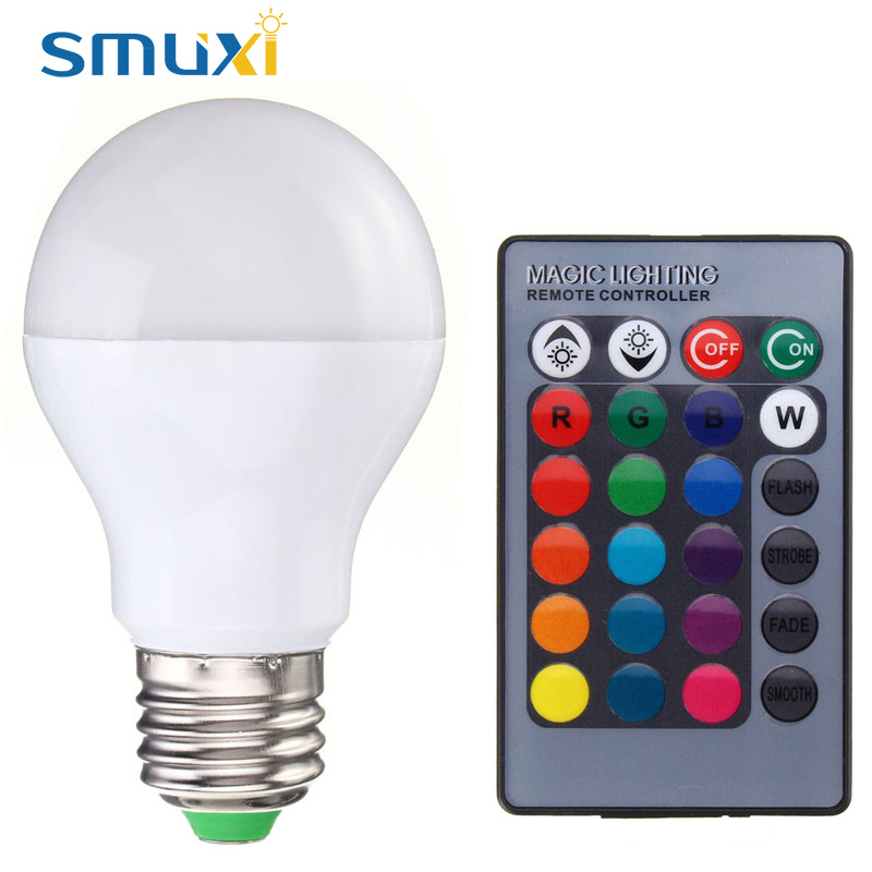 SMUXI RGB Light LED Bulb E27 B22 5W 10W Color Changing LED Stage Lamp Spotlight Chandelier Lighting with Remote Control 85-265V e27 e14 rgb 5w 10w ac85 265v led bulb lamp with remote control multiple colour rgb led lighting