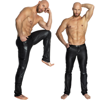 S-2XL Black Shiny PU Leather Pants Men Elastic Slim Fit Trousers Male Casual Motorcycle Faux Jogger
