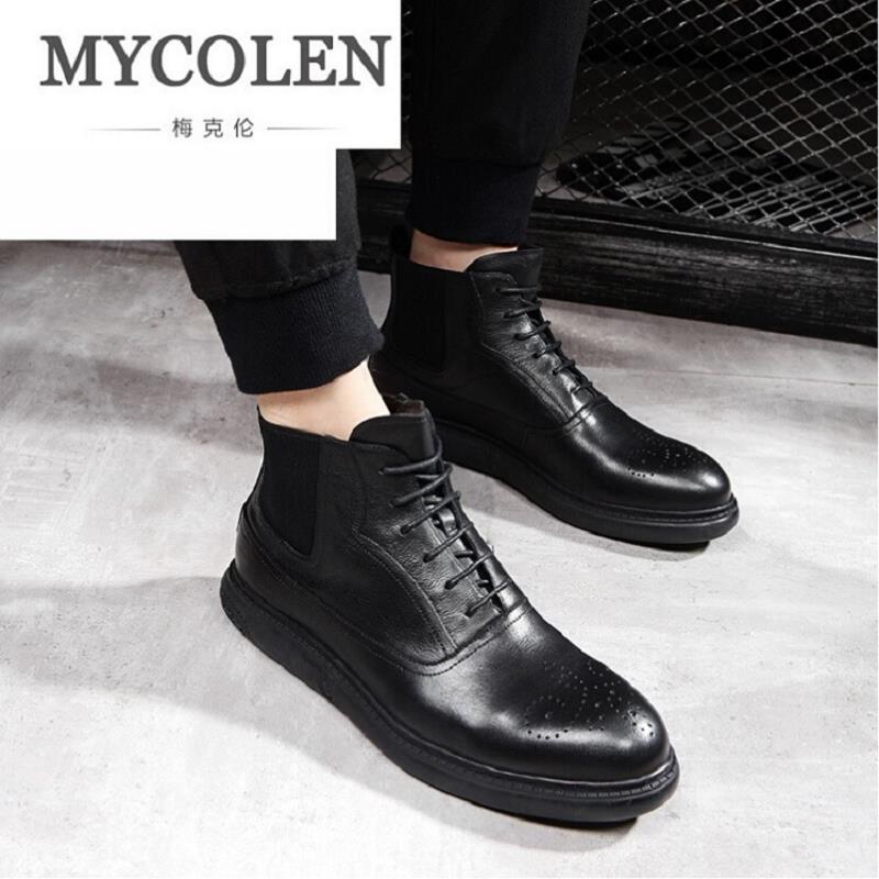 Hombres De Trabajo Zapatillas Nueva Cuero Auténtico Botas Hombre Casual Vaca Mycolen Zapatos Negro Invierno Otoño Tobillo Goma dPO4q1
