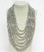 17 24 8row baroque Gray pearls necklace 925 silver clasp