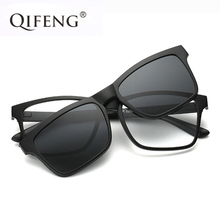 QIFENG Optical Eyeglasses Frame Men Women With Polarized Magnets Sunglasses Clip On Myopia Eye Glasses Spectacle QF057