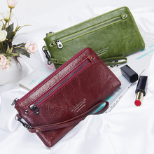 New Genuine Leather Women Wallets Zipper Design Solid Color Phone Bags Long Female Purse High Quality Ladies Clutch Wallet