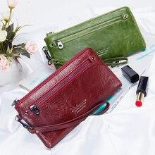 Yeni hakiki deri kadın cüzdan fermuar tasarım katı renk telefonu çanta uzun kadın çanta yüksek kalite bayanlar debriyaj cüzdan