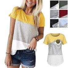 Пэчворк в полоску Повседневное беременных футболка; одежда для кормления Топ Для женщин для беременных Повседневное Футболка короткий рукав грудного вскармливания одежда