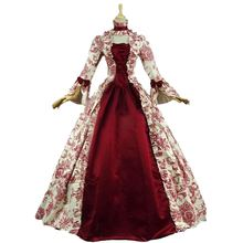 Customized 2018 Autumn Gothic Victorian Period Womens Party Dresses Retro Floral Pattern Red Stage Steampunk Ball Gowns