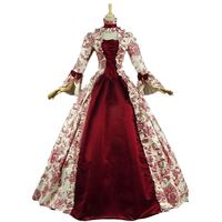 Customized 2018 Autumn Gothic Victorian Period Women's Party Dresses Retro Floral Pattern Red Stage Steampunk Ball Gowns
