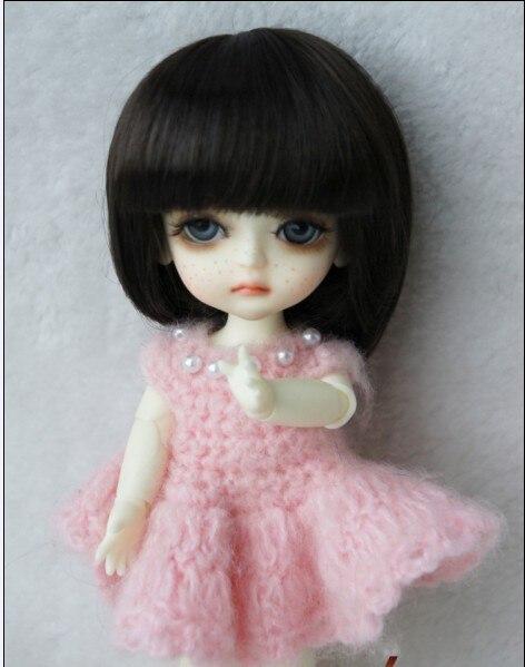 JD025 1/8 1/6 модный короткий парик BJD с челкой для размера 5-6 дюймов 6-7 дюймов кукла мягкий синтетический мохер кукла аксессуары - Цвет: 5-6inchCoffce SM7