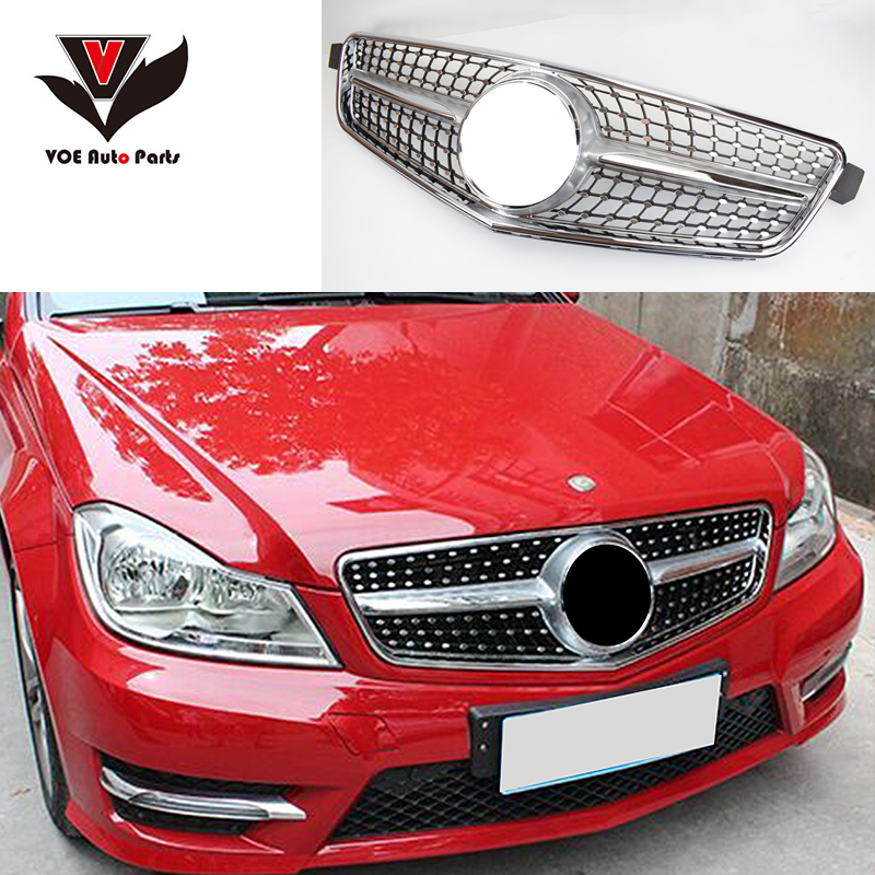 Mercedes W204 Diamond Style Front Racing Grill Grille for Benz W204 C-class C180 C200 C220 C260 C300 Black/Silver 2008-2013 car styling led drl for mercedes benz w204 c class c180 c200 c250 c260 c300 2008 2010 led bumper daytime running lights daylight