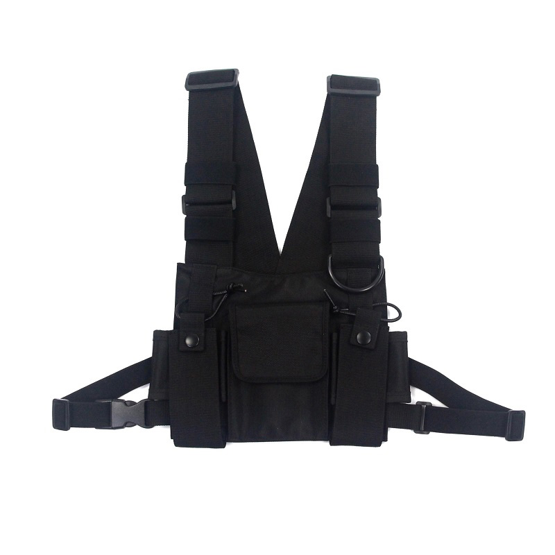 Sacos de ombro tático saco de equipamento de peito hip hop streetwear masculino funcional cintura packs bolsos ajustáveis colete kanye west