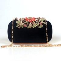 Flower Rhinestone Crystal Diamond Fashion Luxury Velour Women Day Clutch Bag Elegant Fashion Wedding Bag For