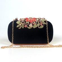 Blume Strass Kristall Diamanten Mode Luxus Velour Frauen Tag Handtasche Elegante Mode Hochzeit Tasche für Frauen 6 Farbe