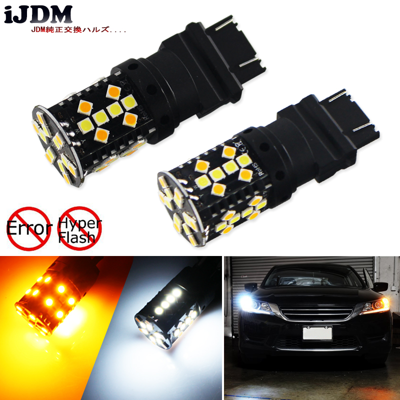 No Flash Iper 3157 LED Canbus P27/5 W T25 Switchback Bianco/Ambra LED Lampadine Per luce Corrente di giorno luci/Luci di Direzione 12 V LED