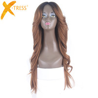 Heat Resistant Synthetic Wigs For Women Natural Long Straight XTRESS With Bangs 28 Ombre Hair Black