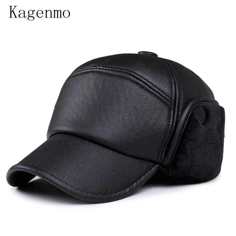 Kagenmo Woolen fur male warm winter hat  windproof breathable cap ear protection man baseball caps bone leather visor kagenmo spring and autumn warm ear protection baseball cap upset cotton hat russian love 5color 1pcs brand new arrive
