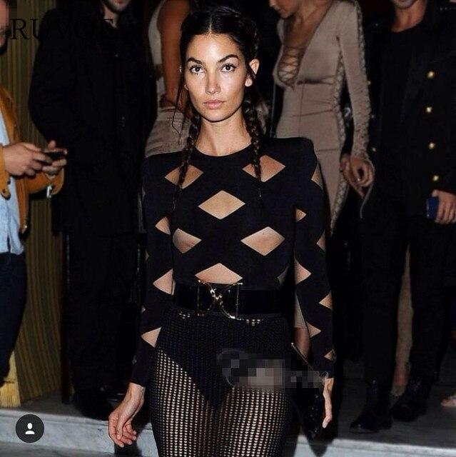 Sexy Mesh bodysuit Women elegant Skinny 2017 hollow out black nude jumpsuit  romper body feminino overalls mesh playsuit B-104 958ff1b08