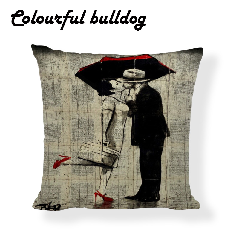 Vintage Newspaper Throw Cushion Covers Dancer Loving Couple Linen Printed Home Decor Yoga Chair Red High Heels Pillow Case Cover ...