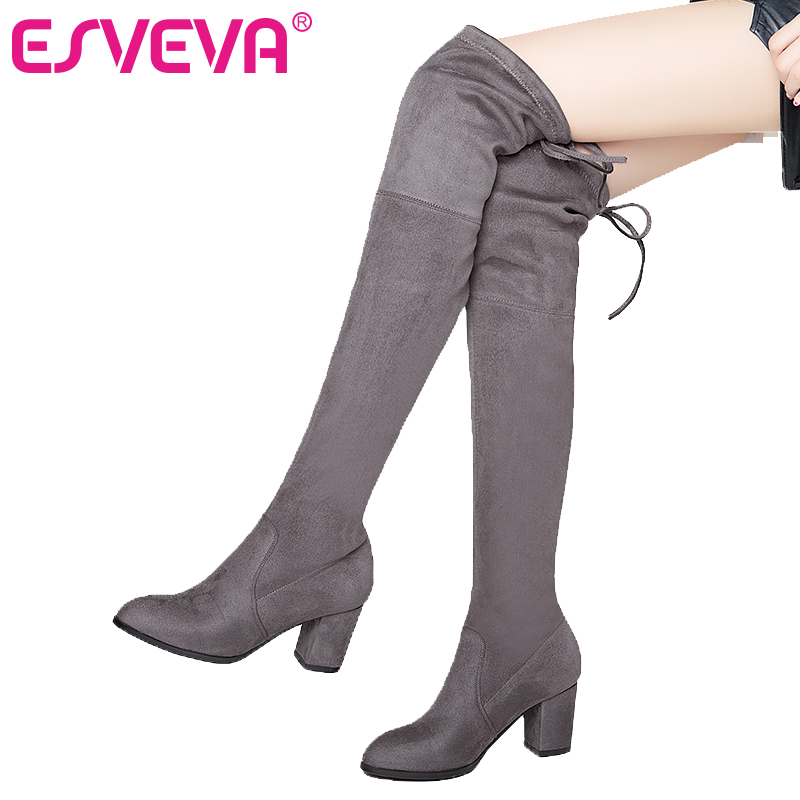 ESVEVA 2018 Over The Knee Boots Flock Winter Round Toe Women Boots Ladies Lace Up Stretch Fabric Fashion Boots Big Size 34-43 esveva 2017 western style flock women boots over the knee boots winter square high heel ladies lace up fashion boots size 34 43
