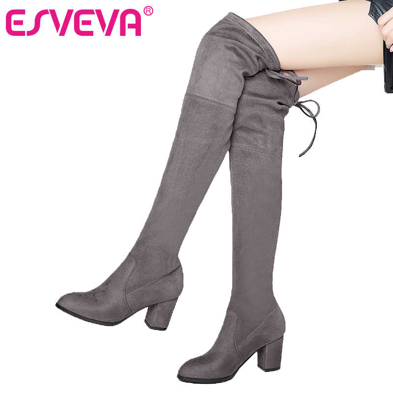 0fd12247b ESVEVA 2018 Over The Knee Boots Flock Winter Round Toe Women Boots Ladies  Lace Up Stretch