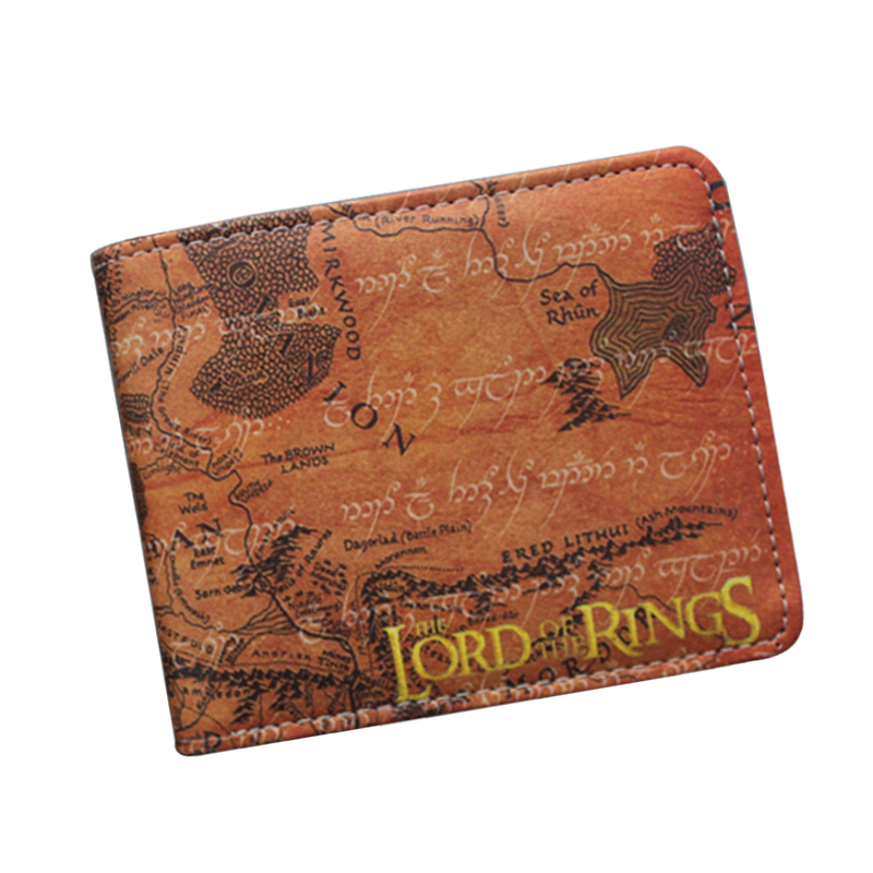 Movie The Lord Of The Rings Wallet For Women Men Leather Purse Money Bag Clip Card Holder Retro The Lord Of The Rings Map Wallet