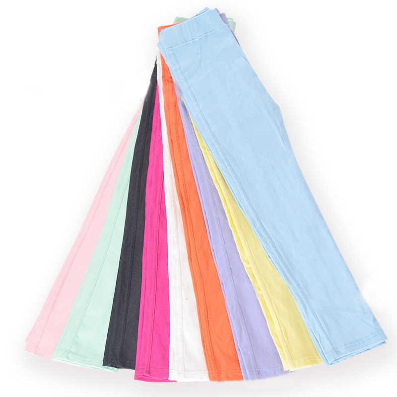 Pantalones largos elásticos de primavera y otoño para niños, pantalones ajustados de Color caramelo para niñas, pantalones ajustados, Leggings para niños de 3 a 11 años