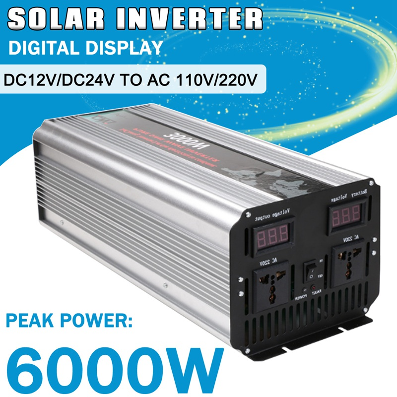 цена на 1Pcs 3000W Max Pure Sine Wave Solar Power Inverter DC 12V/24V to AC 110V/220V Off Grid Inverter Solar Energy Home Car System