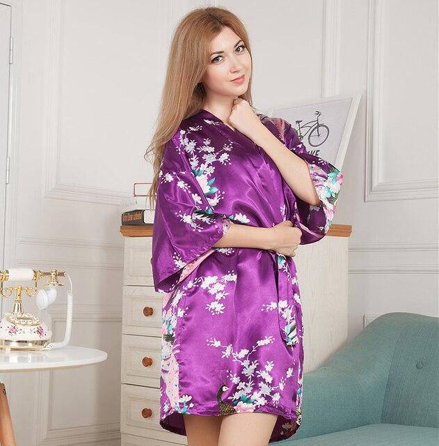 Frauen Satin Kurzen Nachthemd Kimono Robe New Lila Bademantel Floral ...