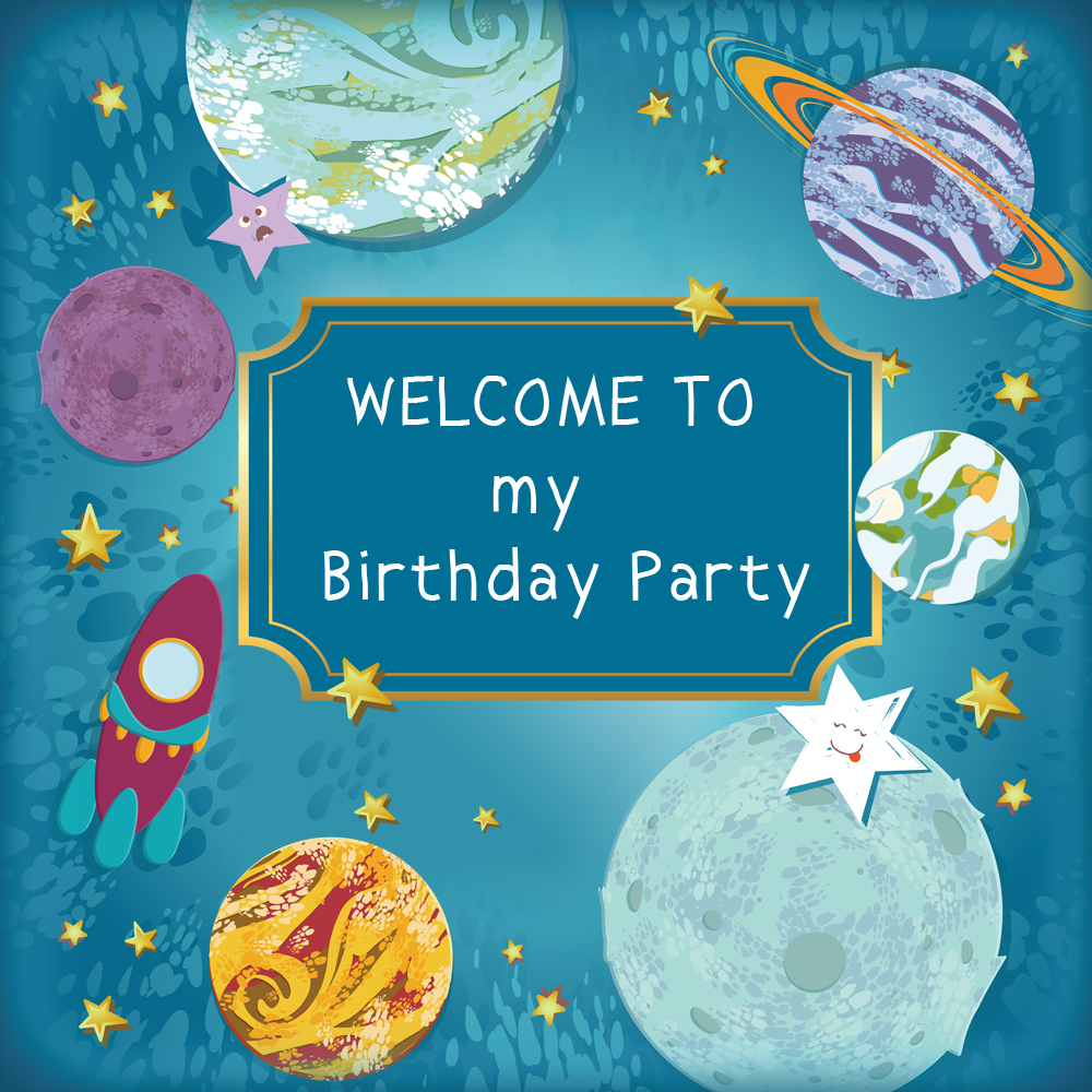 Happy Birthday Background Baby Shower Banner Outer Space Cloud Children Photo Backdrop Universe Dessert Table Decorations W 967