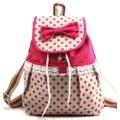 Women Girl Lace Bow Cute Dots backpack satchel tote handbag Campus Bookbag
