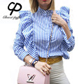CP 2017 Summer Girls Fashion Band Collar Blue Striped Ruffles Tops Shirts New Casual Loose Women Long Sleeve Shirts Blouses