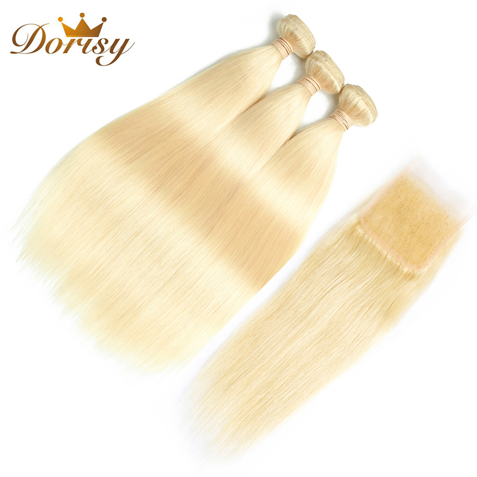 Dorisy Hair 4 Pcs 613 Blonde Indian Straight 100% Human Hair Bundles With 4*4 Lace Closure Remy Hair Extensions Free Shipping