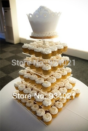 Square 6 Tier Round Top Acrylic Cupcake Party Wedding Cake Stand Decoration