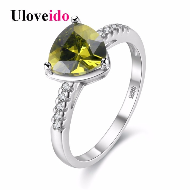 Uloveido Costume Jewelry Rings For Women Cubic Zirconia Triangle Green Ring With Stone Jewellery Female Ringen