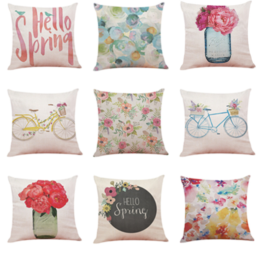 Ouneed Hello Spring flower Printing Throw Pillow Case Decorative Pillows For Sofa Car Seat Cushion Cover 45x45cm Home Decor
