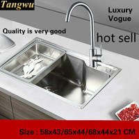 Tangwu Small kitchen sink of high quality stainless steel single slot 580x430/650x440/680x440X210 MM