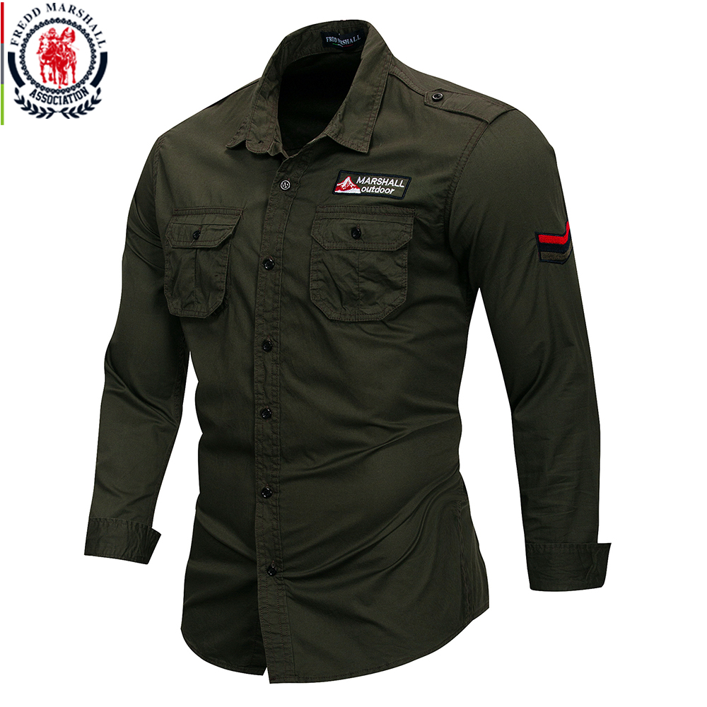 Fredd Marshall 2018 New 100% Cotton Military Shirt Men Long Sleeve Breathable Casual Shirt Man Solid Shirt With Embroidery FM115 Mens Plus Size