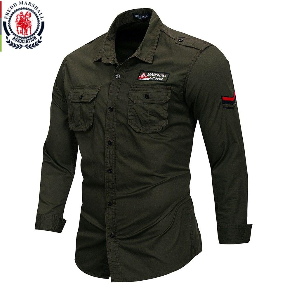 Fredd Marshall 2018 New 100% Cotton Military Shirt Men ...