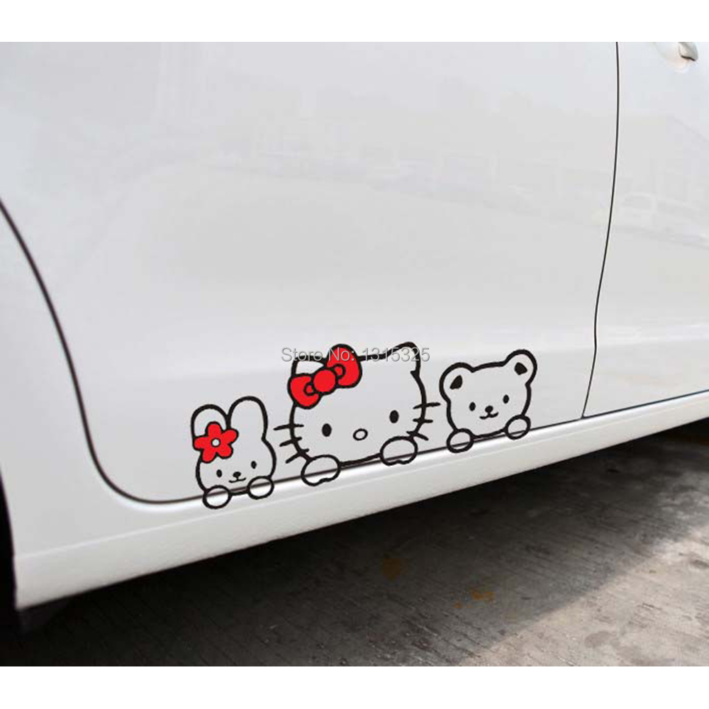 Aliauto Hello Kitty Car Stickers and Decal Lovely Cat car styling for Toyota Ford Chevrolet cruze VW skoda Hyundai Kia Lada