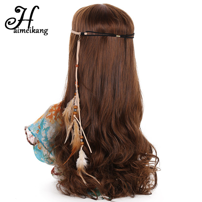 Haimeikang Korean Velvet Indian Feather Headband Feather Hair Band Hairbands for Women Girls Halloween Hair Accessories
