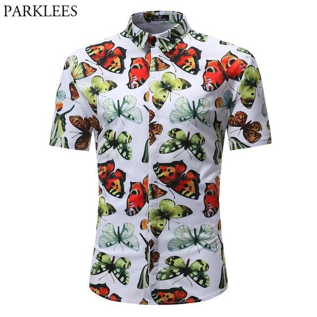 5f10e812 Floral Butterfly Print Hawaiian Shirt Men 2018 Summer Short Sleeve Beach Shirts  Mens Casual Slim Brand Clothing Camisa Hombre