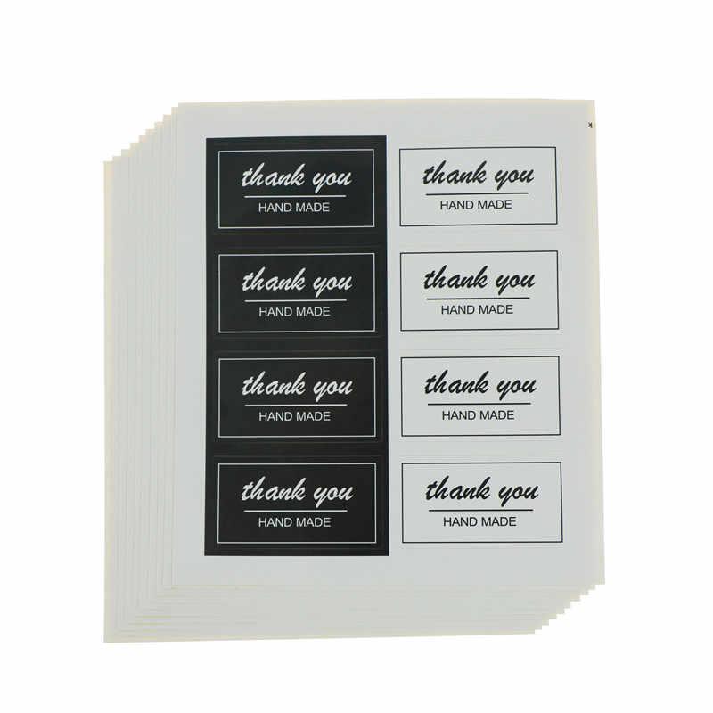 80 шт./10 листов благодарим Вас наклейки на этикетки черно белые канцелярские