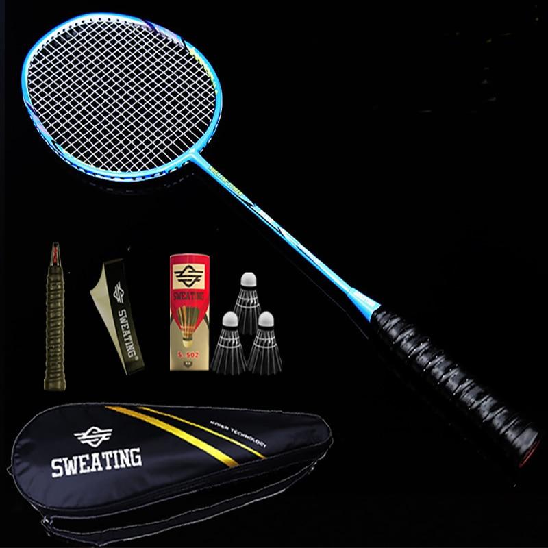 Badminton Racket Genuine Full Carbon Single Shot Ultra Light Carbon Fiber Men Women Beginners Offensive Training Double Shot