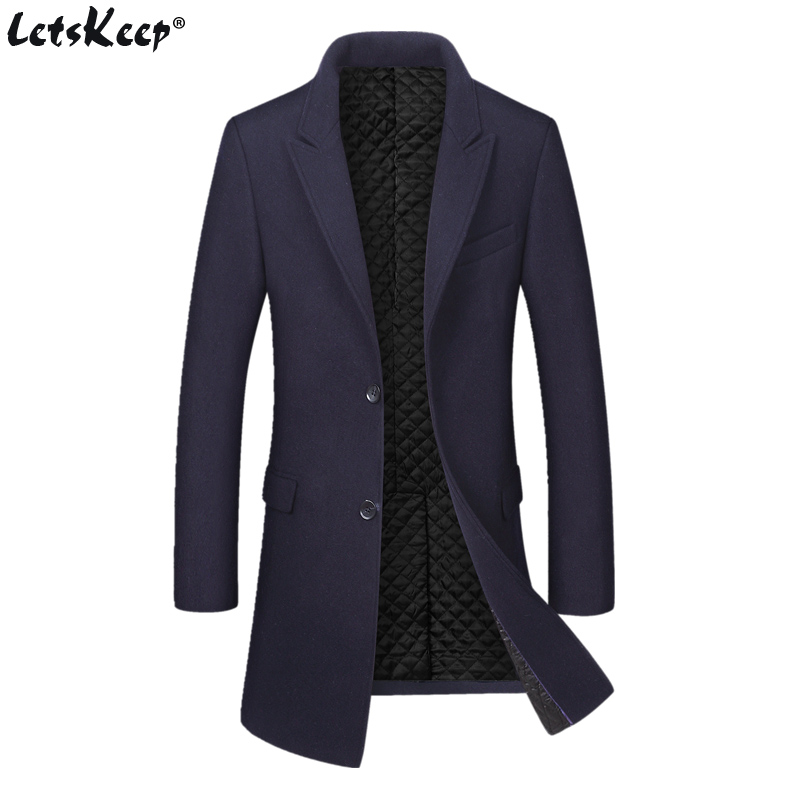 Letskeep Winter Long Wool Overcoat Men Turn-down Collar Blends Peacoat Mens Thick Business Woolen Classic coat Big size, MA535