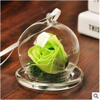 Creative Roses Gift Lettering Micro Landscape Landscape Cover Glass Vase Characteristics