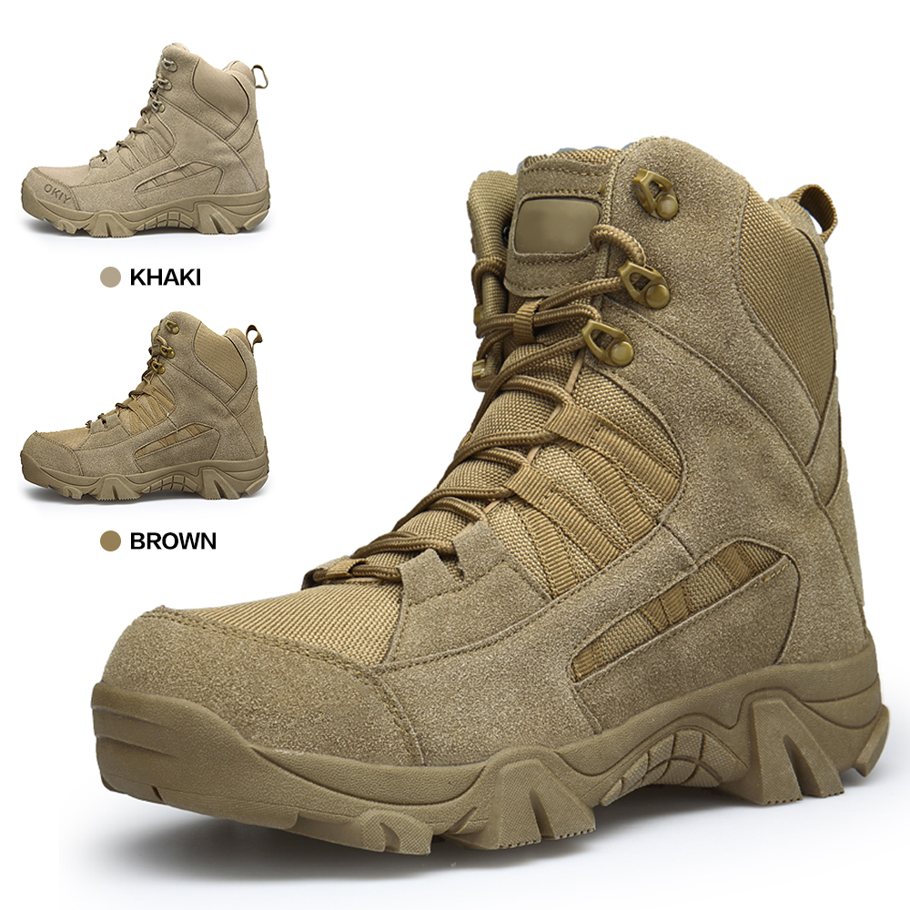 Army Boots Military Boots Men Tactical Boots Zip Army Tactical Desert Combat Boots Safety Shoe Snow Leather Winter Autumn Brown fashion army boots men military boots tactical combat boots waterproof summer winter desert boots size 35 46 ids658
