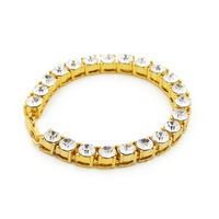 8MM Wide Hip Hop Tennis Austrian Rhinestone Bracelet Men Women 18k Yellow White Gold Plated Bracelet
